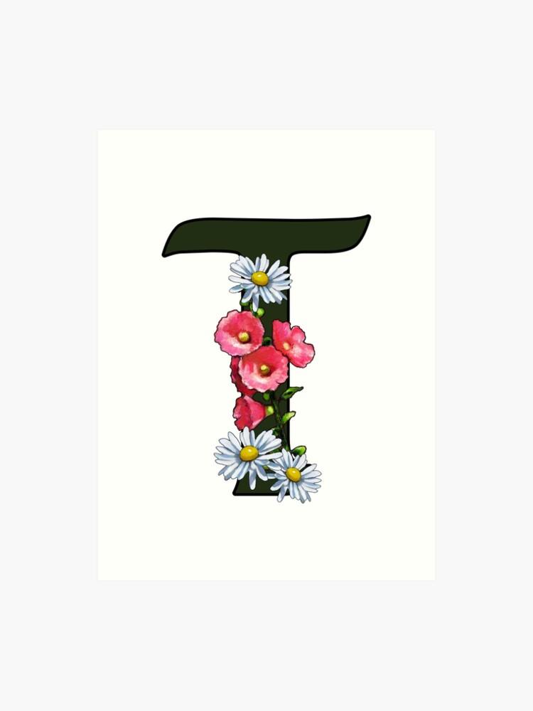 Letter Art Print.T Letter T Initial Monogram With Flowers Alphabet Letter Art Print