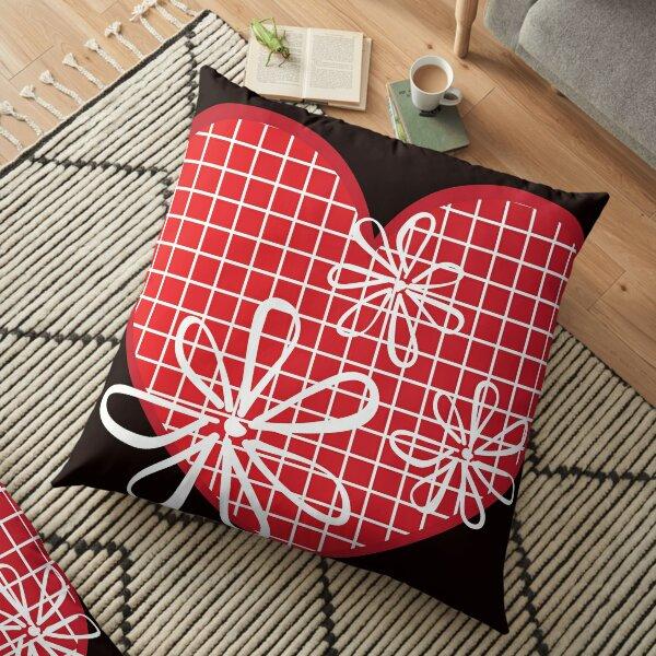 Flowered Hearts- Graphic Design Floor Pillow