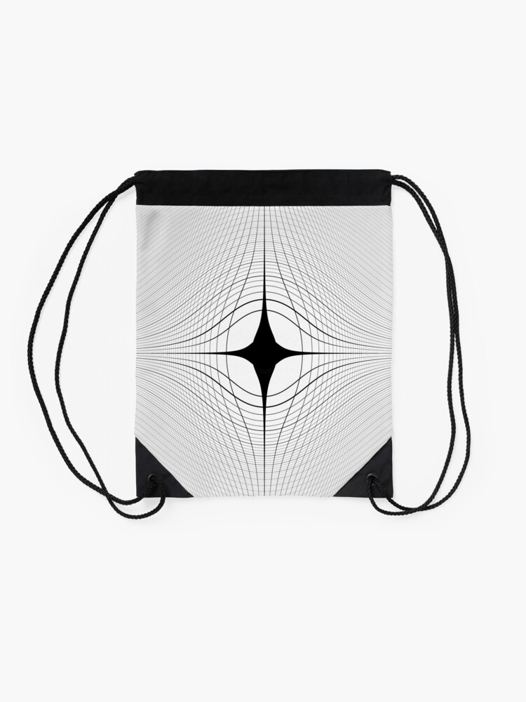 Alternate view of #blackandwhite #monochrome #circle #design #abstract #pattern #illustration #symmetry #vertical #photography #inarow #nopeople #decoration Drawstring Bag