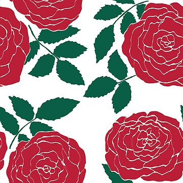 red roses green leaves pattern by bettyretro