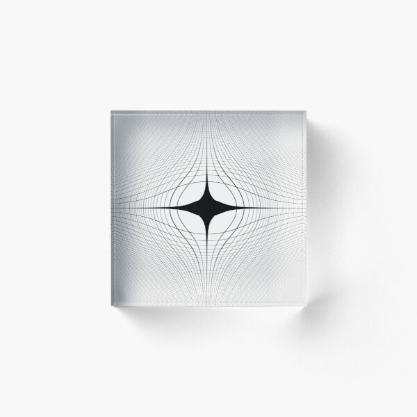 #blackandwhite #monochrome #circle #design #abstract #pattern #illustration #symmetry #vertical #photography #inarow #nopeople #decoration Acrylic Block