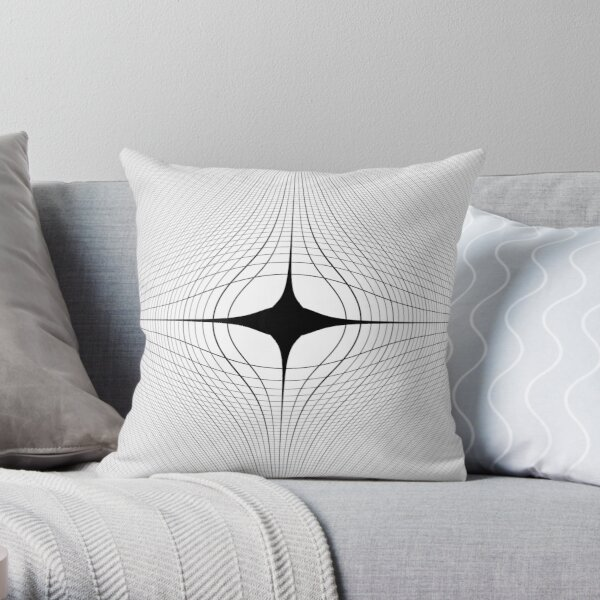 #blackandwhite #monochrome #circle #design #abstract #pattern #illustration #symmetry #vertical #photography #inarow #nopeople #decoration Throw Pillow