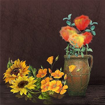Watercolor Poppies and Golden Sunflowers by JMarielle