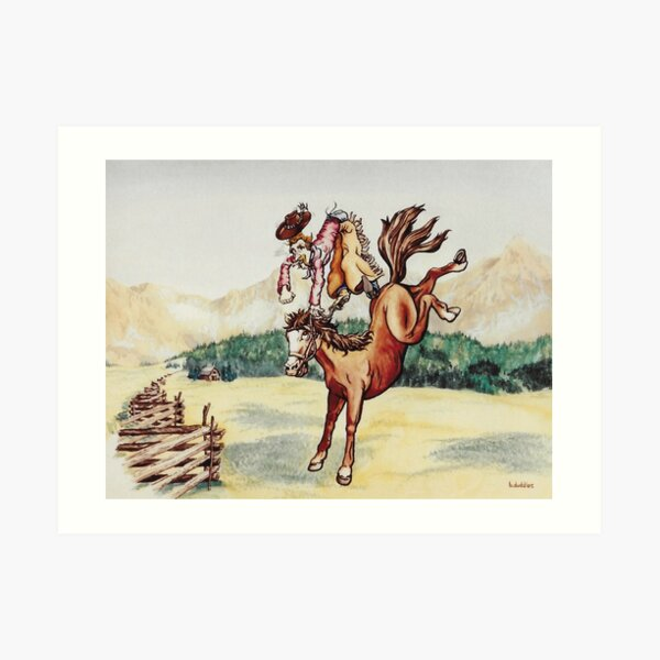 Original watercolor painting of a bucking bronco Art Print