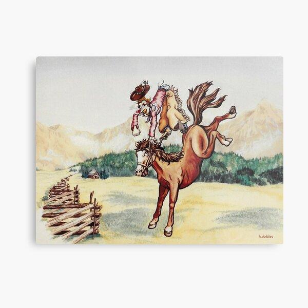 Original watercolor painting of a bucking bronco Metal Print