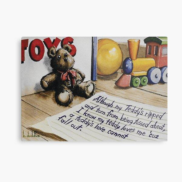 Original watercolor painting of a Teddy Bears love Metal Print