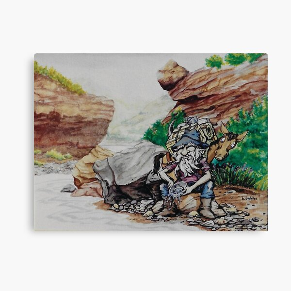 Original watercolor painting of a gold miner Canvas Print