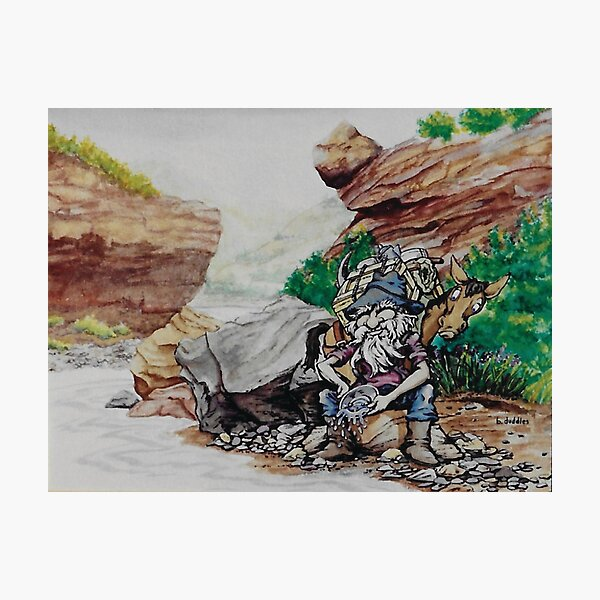 Original watercolor painting of a gold miner Photographic Print