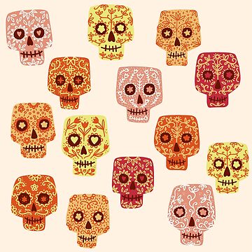Dia de los Muertos Mexican Decorated Skull Art by squirrell