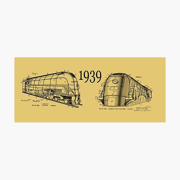 1939 Train Art Streamlined Locomotive Anorak Gift Vintage Patent Prints Old Look