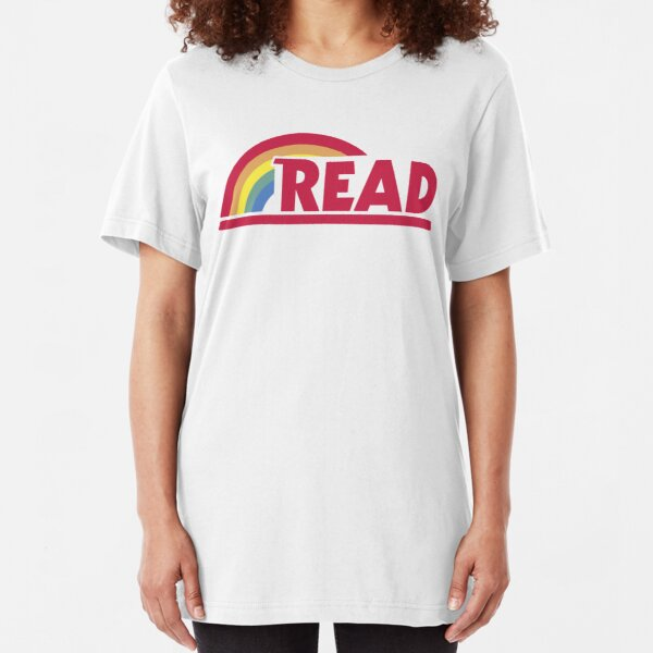 Retro Reading Rainbow Read Parody Teacher, Student, Avid Reader, Book Club, Reading, Graphic Slim Fit T-Shirt