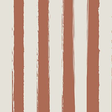Rustic Brushed Stripes Pale Cream-Clay-Russet Brown by broadmeadow