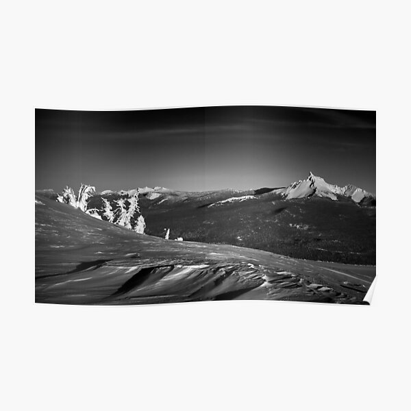 Mt. Thielsen, Oregon Cascades Landscape in Black and White Poster
