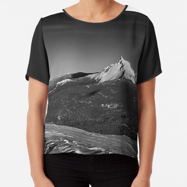 Mt. Thielsen, Oregon Cascades Landscape in Black and White Chiffon Top