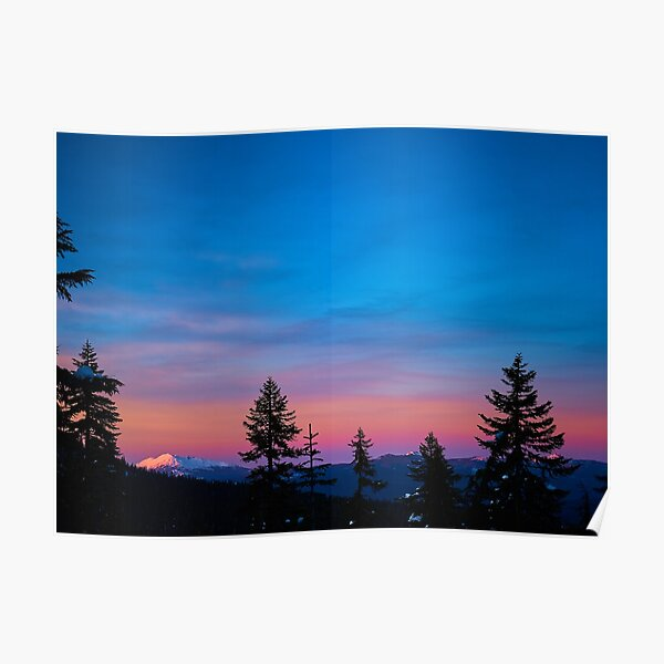 Diamond Peak, Oregon Winter Sunset Poster