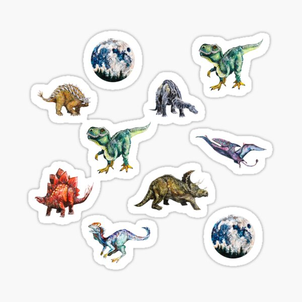 Florasaurus ilustraciones de acuarela Pegatina