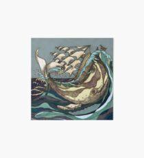 Leviathan Strikes - Whale, Sea and Sailing Ship Art Board