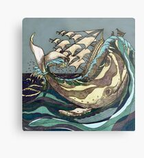 Leviathan Strikes - Whale, Sea and Sailing Ship Metal Print