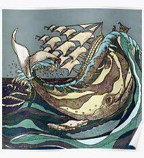 Leviathan Strikes - Whale, Sea and Sailing Ship Poster
