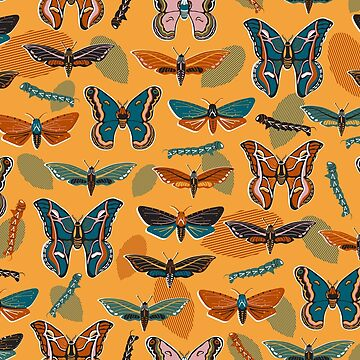 Moths and Caterpillars with Autumn Leaves on Gold by vinpauld