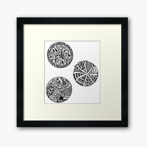 Three Circles - Black & White Framed Art Print