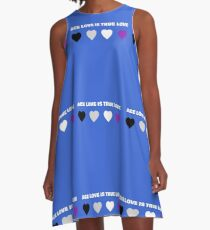 ASEXUAL HEARTS ACE LOVE IS TRUE LOVE ASEXUAL T-SHIRT A-Line Dress