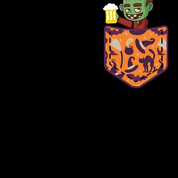 Halloween Monster With Beer In Pocket Funny Halloween T Shirt by davdmark