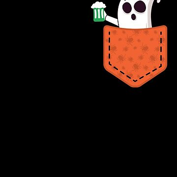 Halloween Ghost With Beer In Pocket Funny Halloween T-Shirt by davdmark