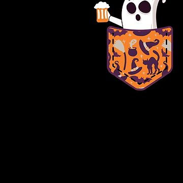 Halloween Ghost With Beer In Pocket Funny Halloween T Shirt by davdmark