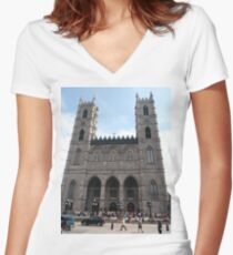 Notre-Dame Basilica, #NotreDameBasilica, #NotreDame, #Basilica, Montreal, #Montreal #City, #MontrealCity, #Canada, #buildings, #streets, #places, #tourists, #architecture, #monuments, #Cathedral Women's Fitted V-Neck T-Shirt