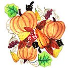 Pumpkins and black kittens  by DarinaDrawing