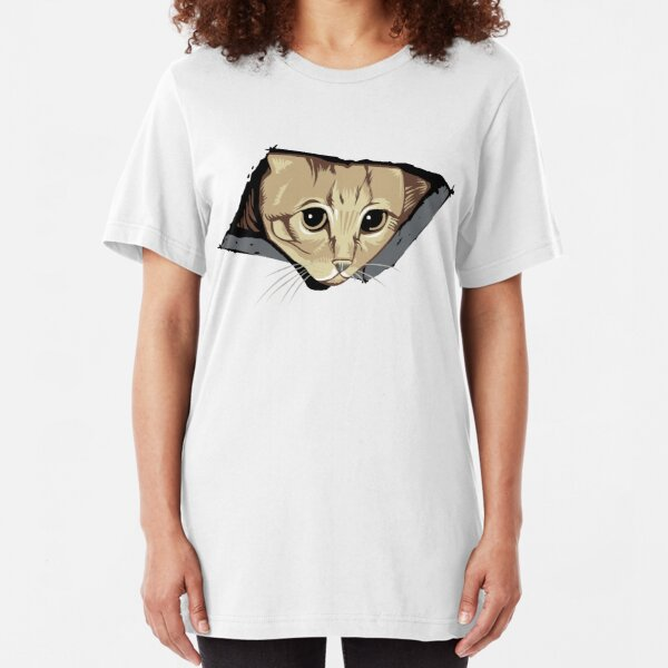 Ceiling Cat Watches You, LOLCat Favorite Slim Fit T-Shirt