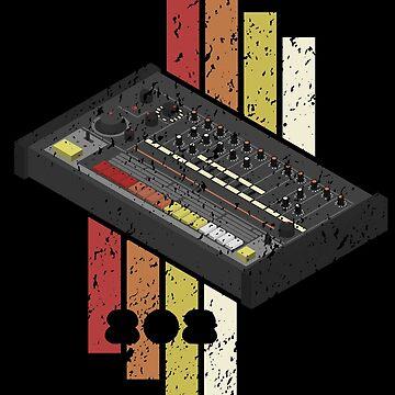 tr-808 Drum Machine Vintage Color Pattern Distressed Look by mewzeek-T