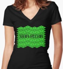 St Patricks Day Shamrocking Women's Fitted V-Neck T-Shirt