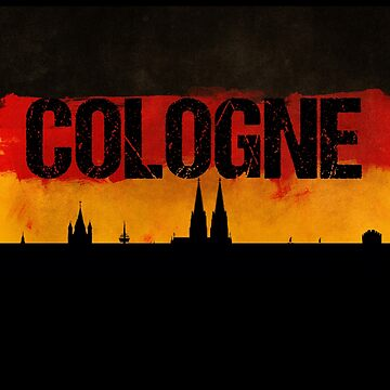 Cologne Germany City Skyline Distressed Flag by LarkDesigns