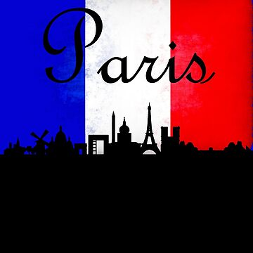Paris France City Skyline Silhouette French Flag by LarkDesigns