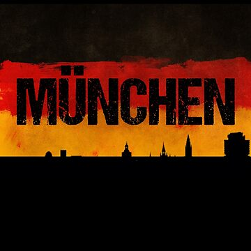 Munchen Germany City Skyline Distressed Flag by LarkDesigns