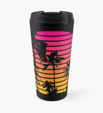 Cool 80s Style Tropical Sunset Travel Mug