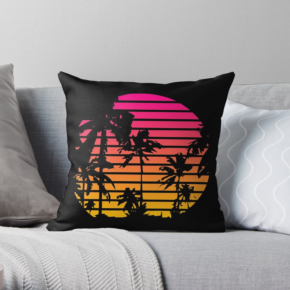 Cool 80s Style Tropical Sunset Throw Pillow