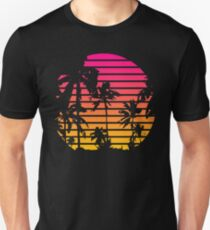 Cool 80s Style Tropical Sunset Slim Fit T-Shirt