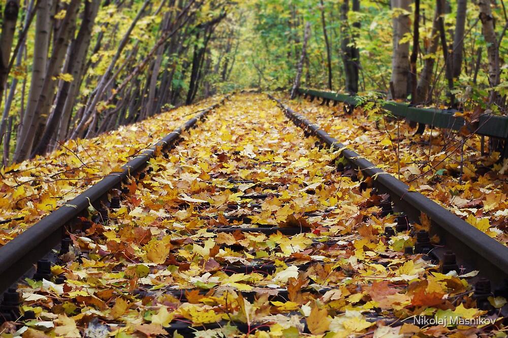 Yellow Leaves Coating Railway by Nikolaj Masnikov