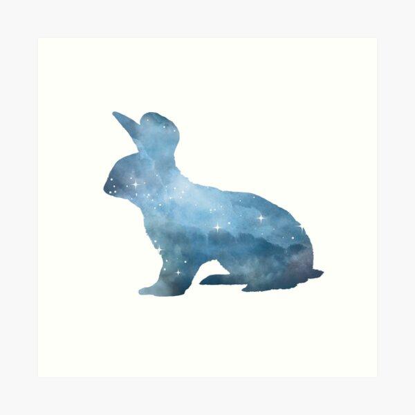 Bunny Rabbit Friends Basket   Bird Garden  Watercolor Wall Art Print