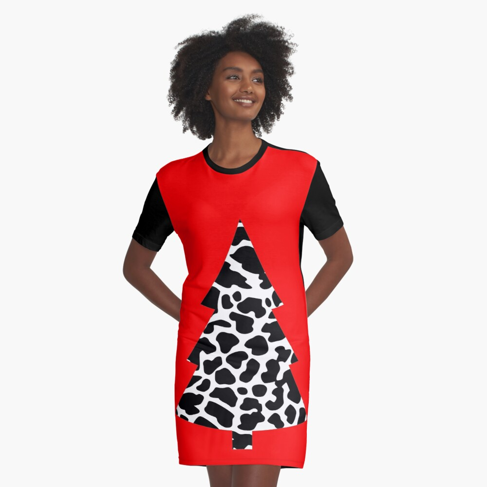 cow stain pattern christmas tree graphic cow spot Graphic T-Shirt Dress Front