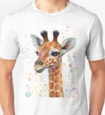 Baby-Giraffe-Aquarell-Malerei, Kinderzimmer-Kunst Slim Fit T-Shirt