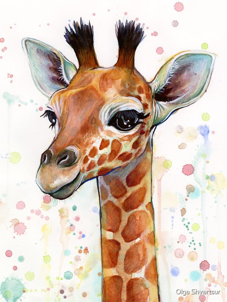 Baby Giraffe Watercolor Painting, Nursery Art by olga-shvartsur