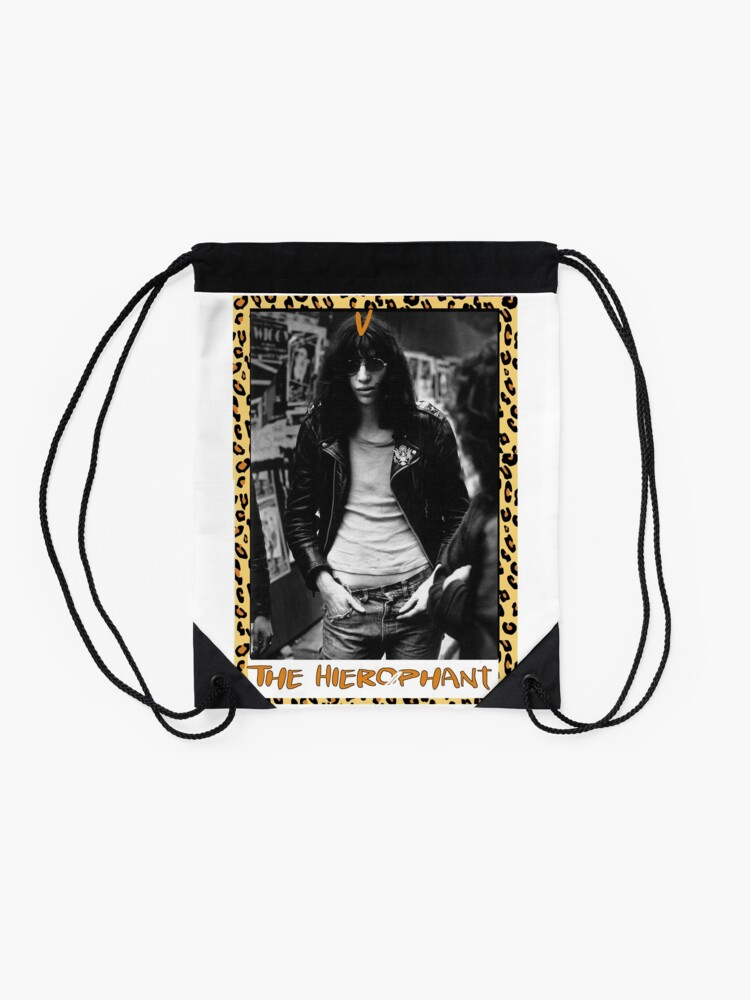 Alternate view of Punk Tarot - The Hierophant - Joey Ramone Drawstring Bag