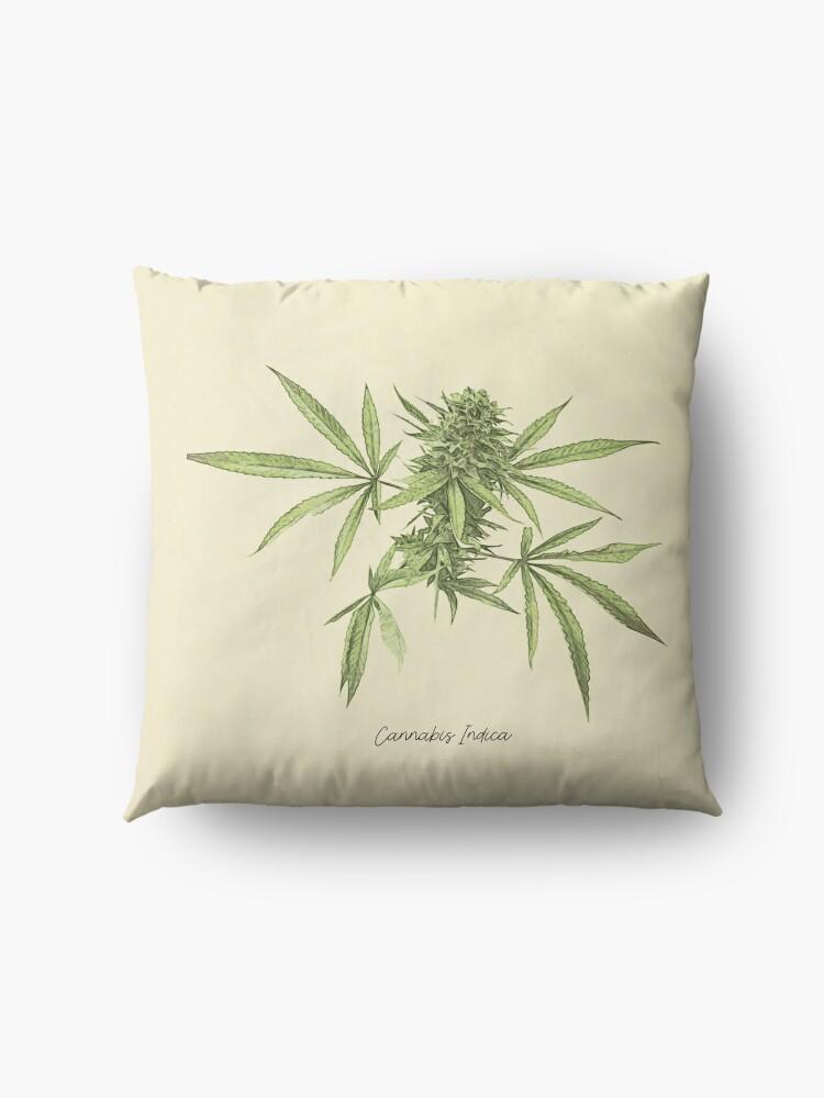 Alternate view of Vintage botanical print - Cannabis Floor Pillow