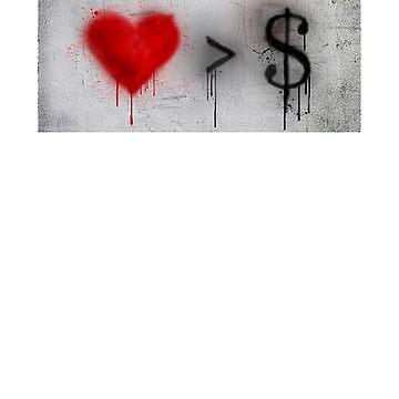 Anti capitalist love heart street art graffiti shirt by SOpunk