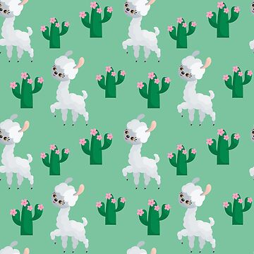 Cute White Llama Cactus Pattern Mint Green by LarkDesigns