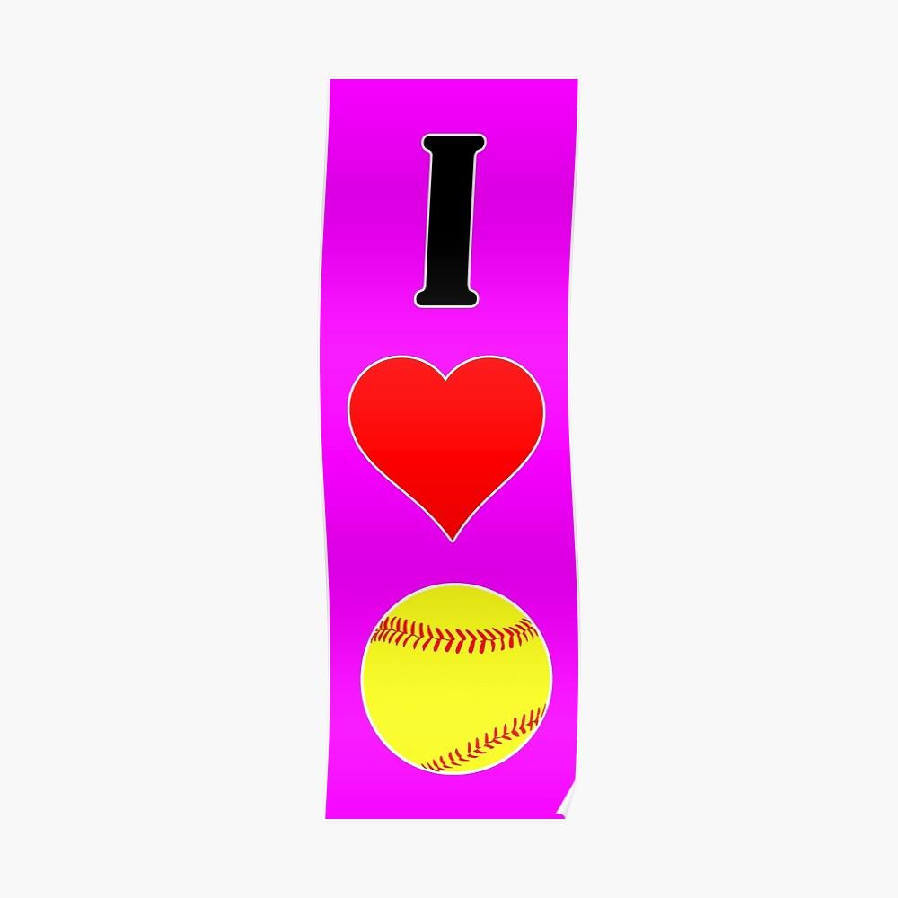 I Heart Love Fastpitch Softball Póster